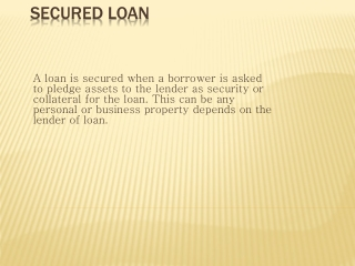 Secured v s Unsecured loan