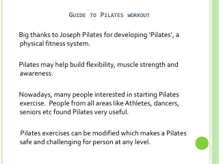 Guide To Pilates Exercises