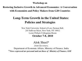 Workshop on  Restoring Inclusive Growth in Advanced Economies: A Conversation with Economists and Policy Makers from G20