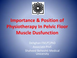 Importance & Position of Physiotherapy In Pelvic Floor Muscle Dusfunction