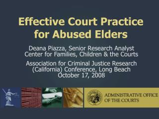 Effective Court Practice for Abused Elders