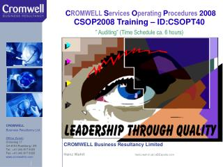 CROMWELL Business Resultancy Limited Heinz Wehrli                                                 heinz.wehrli (at) eBEx
