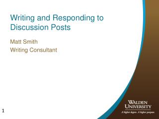 Writing and Responding to Discussion Posts