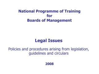 National Programme of Training for Boards of Management