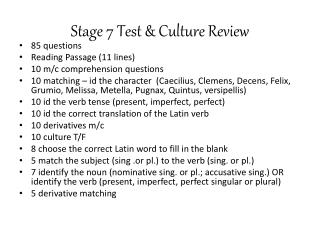 Stage 7 Test & Culture Review
