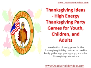 Thanksgiving Ideas - High Energy Thanksgiving Party Games fo