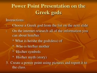 Power Point Presentation on the Greek gods