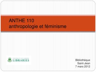 ANTHE 110 anthropologie et féminisme