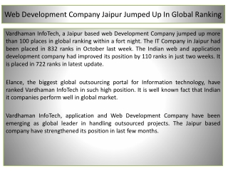 Web Development Company Jaipur Jumped Up In Global Ranking