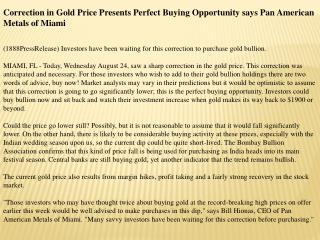 correction in gold price presents perfect buying opportunity