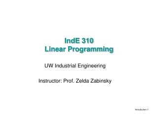IndE 310 Linear Programming