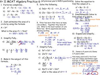 Yr 11 MCAT Algebra Practice 6 all previous year s NCEA questions