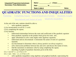 QUADRATIC FUNCTIONS AND INEQUALITIES