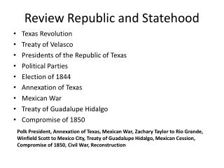 Review Republic and Statehood
