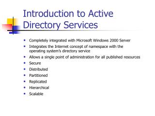 Introduction to Active Directory Services