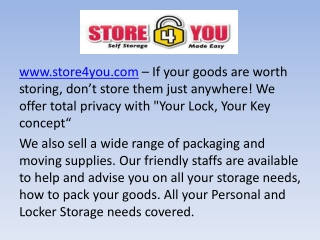 Store4You - Storage Space Services in Singapore