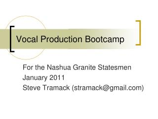 Vocal Production Bootcamp