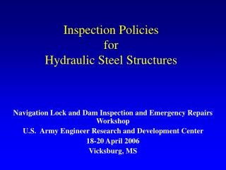 Inspection Policies for Hydraulic Steel Structures
