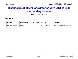 Discussion of 40Mhz coexistence with 20MHz BSS in secondary channel
