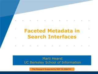 Faceted Metadata in Search Interfaces