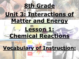 8th Grade Unit 3: Interactions of Matter and Energy Lesson 1: Chemical Reactions Vocabulary of Instruction: