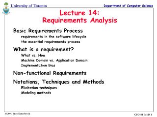 Lecture 14: Requirements Analysis