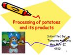 Processing of potatoes and its products