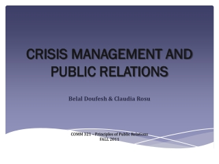 CRISIS MANAGEMENT AND PUBLIC RELATIONS