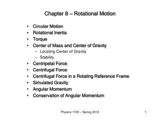 Chapter 8 – Rotational Motion
