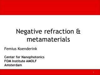 Negative refraction & metamaterials