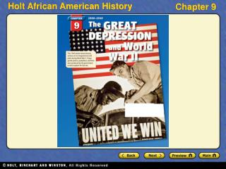 Section 1 Depression and Recovery Section 2 African Americans in World War II Section 3 Social and Cultural Changes