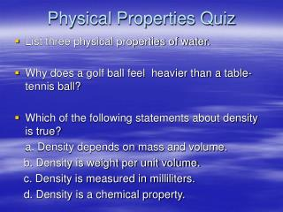 Physical Properties Quiz