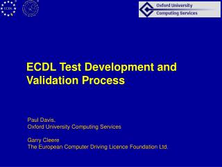 ECDL Test Development and Validation Process
