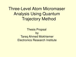 Three-Level Atom Micromaser Analysis Using Quantum Trajectory Method