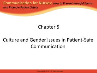 Chapter 5 Culture and Gender Issues in Patient-Safe Communication