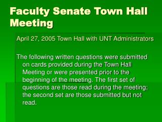 Faculty Senate Town Hall Meeting