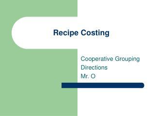Recipe Costing