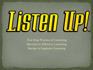 Five Step Process of Listening Barriers to Effective Listening Recipe to Improve Listening