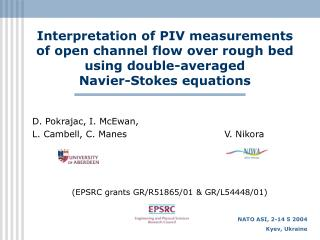 Interpretation of PIV measurements of open channel flow over rough bed using double-averaged Navier-Stokes equations