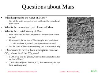 Questions about Mars
