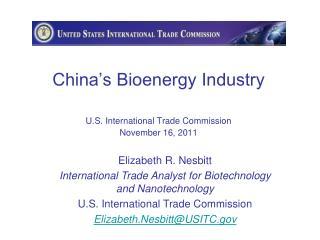 China's Bioenergy Industry