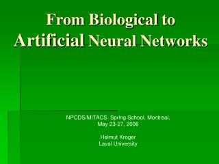 From Biological to Artificial Neural Networks