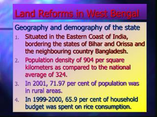 Land Reforms in West Bengal