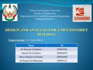 DESIGN AND ANALYSIS FOR A MULTISTOREY BUILDING