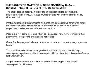 ONE'S CULTURE MATTERS IN NEGOTIATION by Dr Asma Abdullah, Interculturalist & CEO of Culturematters