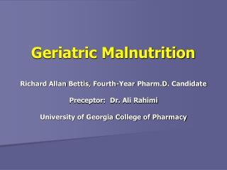 Geriatric Malnutrition