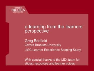 e-learning from the learners' perspective