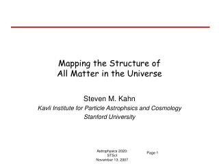 Mapping the Structure of All Matter in the Universe
