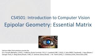 Epipolar Geometry: Essential Matrix
