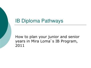 IB Diploma Pathways